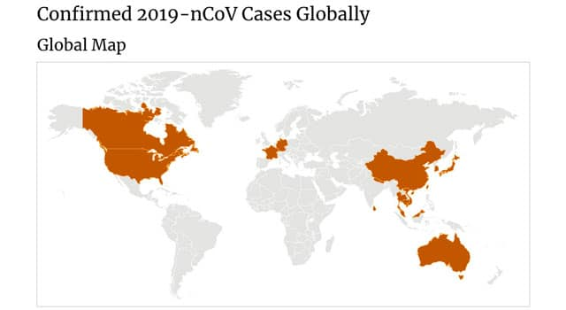 Global map of locations Coronavirus has been reported